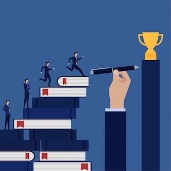 Homme d'affaires couru vers le trophée à l'aide de livre et stylo