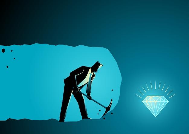 Homme d'affaires, creusant et minant pour trouver des trésors