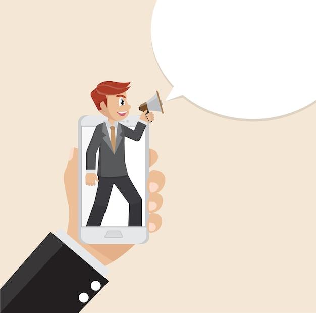 Homme d'affaires criant haut parleur dans smartphone.
