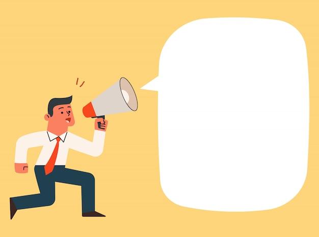 Homme d'affaires en criant et en hurlant avec mégaphone, illustration de dessin animé de vecteur.
