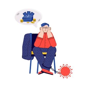Homme d'affaires en crise économique du coronavirus - personne de dessin animé sans argent