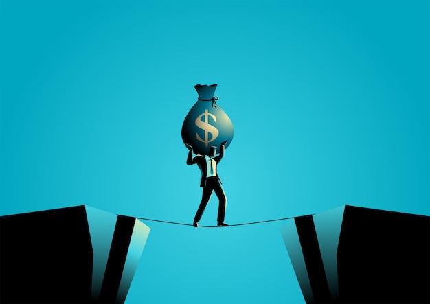 Homme affaires, croisement, abîme, minuscule, corde, grand, argent, sac