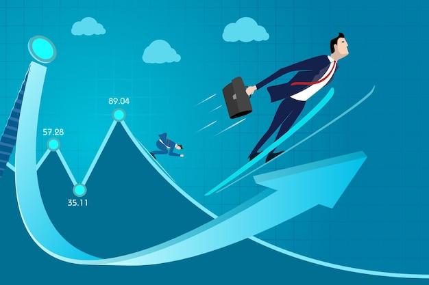 Homme d'affaires, croissance professionnelle, expérience, succès, revenu