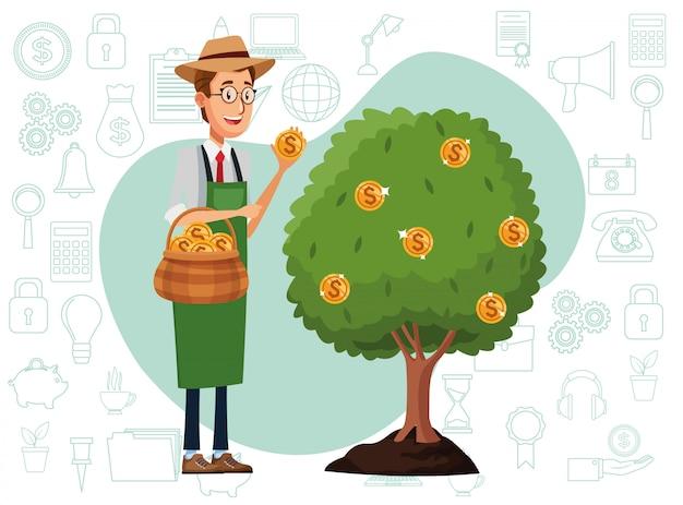 Homme affaires, cultiver, argent, arbre