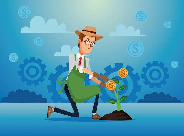 Homme affaires, cultiver, argent, plante