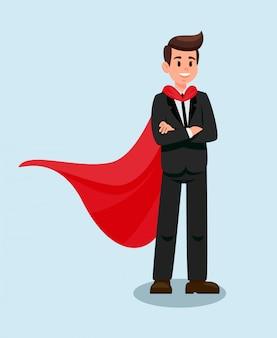 Homme affaires, dans, cape rouge, plat, illustration vectorielle