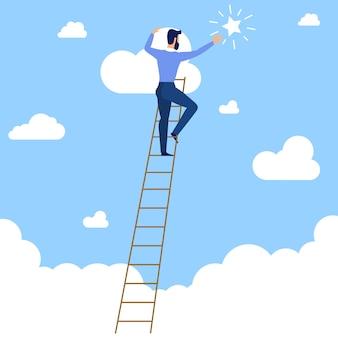 Homme d'affaires dans les cluuds sur l'échelle atteignant l'étoile dans le ciel