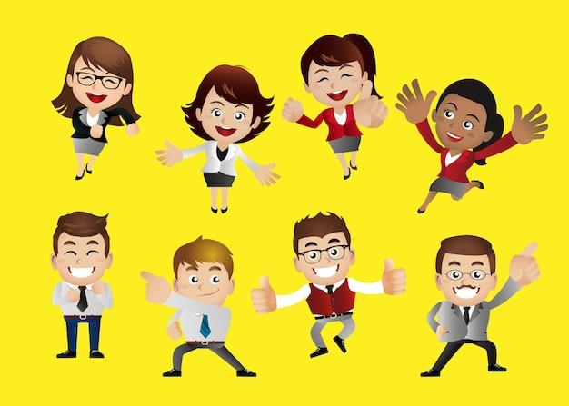 Homme d'affaires dans différentes actions personnages de dessin animé travailleur personne gestionnaire professionnel souriant et expression