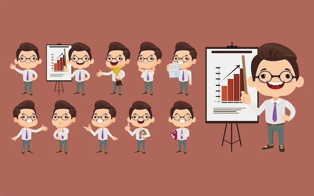 Homme d'affaires dans différentes positions définies