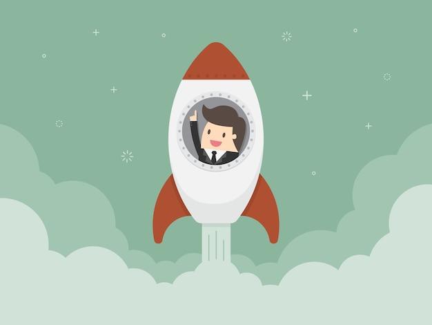 Homme d'affaires dans une fusée