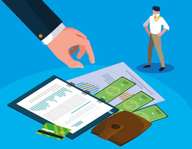 Homme d'affaires dans la journée de l'impôt avec le planificateur et les icônes