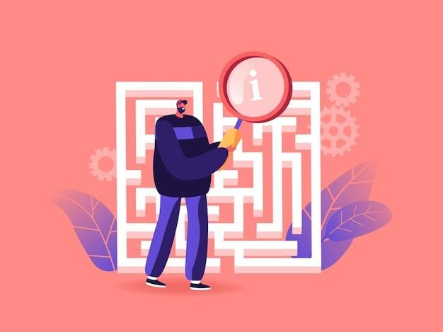 Homme d'affaires dans le labyrinthe ou le labyrinthe avec la loupe