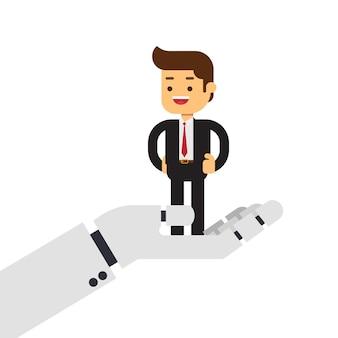 Homme d'affaires dans la main robotique