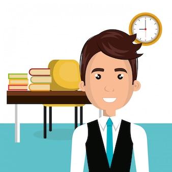 Homme d'affaires dans le personnage d'avatar de la bibliothèque