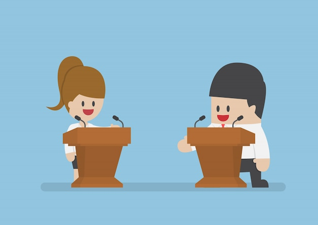 Homme d'affaires débattant sur le podium