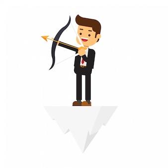Homme affaires, debout, arc, flèche, sommet, colline