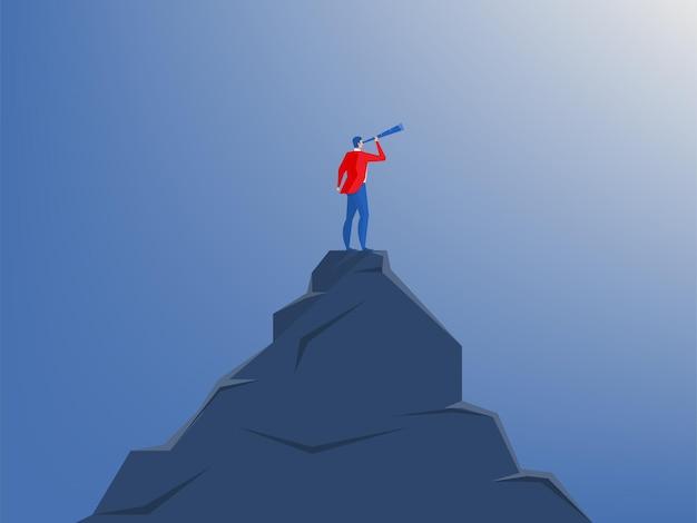 Homme d'affaires debout au sommet de la falaise avec télescope. stratégie de vision, planification, concept d'entreprise