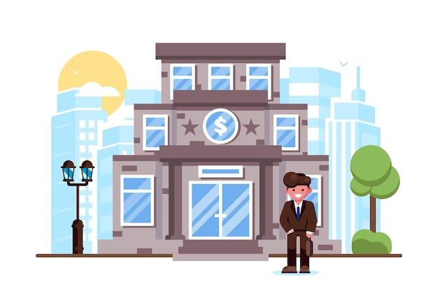Homme affaires, debout, banque, bâtiment façade, extérieur