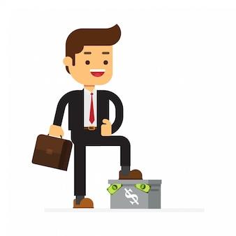Homme d'affaires debout sur la boîte ont de l'argent