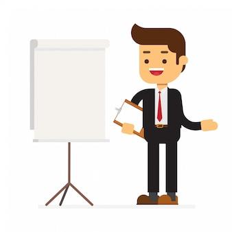 Homme d'affaires debout à côté du tableau de présentation