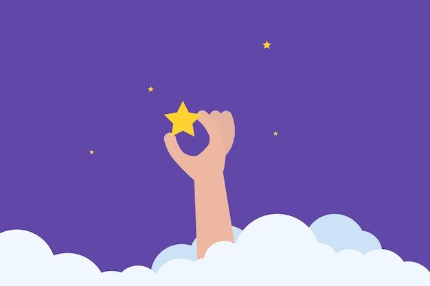 Homme d'affaires debout dans les escaliers et atteint l'étoile. illustration vectorielle.
