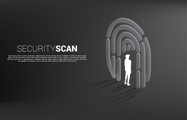 Homme d'affaires debout dans le symbole de scan de doigt. concept de base pour la technologie de sécurité et de confidentialité pour les données d'identité