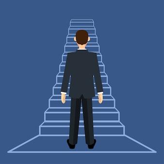 Homme d'affaires debout sur une échelle ou un escalier