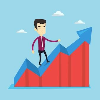 Homme d'affaires debout sur le graphique des bénéfices.