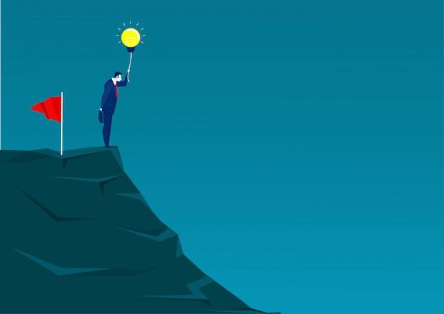 Homme affaires, debout, montagne, regarder, succès, illustration