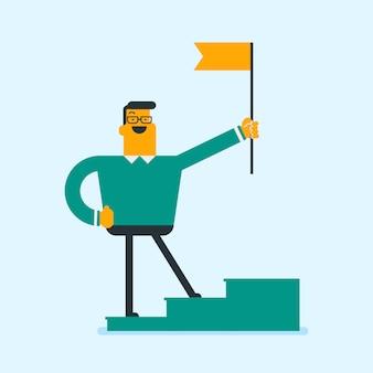 Homme d'affaires debout sur le podium gagnant avec un drapeau.