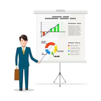 Homme d'affaires debout près du tableau blanc et pointant sur la carte d'analyse financière