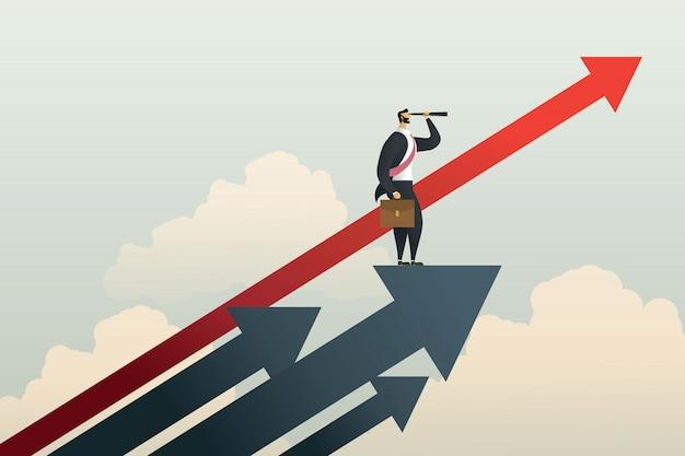 Homme d'affaires debout à la recherche d'un objectif d'opportunité sur la flèche.