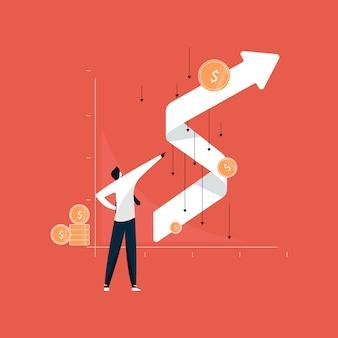 Homme affaires, debout, réussi, graphique croissance, après, effet couronne, croissance affaires, après, récession
