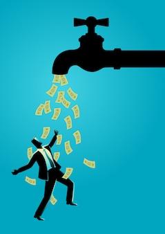 Homme d'affaires debout sous le robinet d'eau coule avec des billets