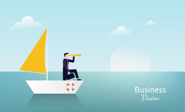 Homme d'affaires debout avec télescope sur le symbole du voilier. illustration de la vision d'entreprise