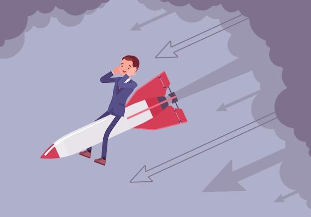 Homme d'affaires désespéré descendre sur une fusée