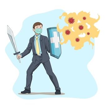 Homme d'affaires de dessin animé combattant le coronavirus, covid-19.