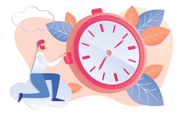 Homme d'affaires de dessin animé commence horloge rouge se déplaçant les mains