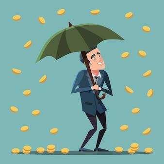 Homme d'affaires de dessin animé debout avec parapluie sous la pluie d'argent. la réussite des entreprises.