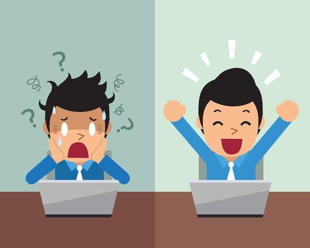 Homme d'affaires de dessin animé exprimant différentes émotions