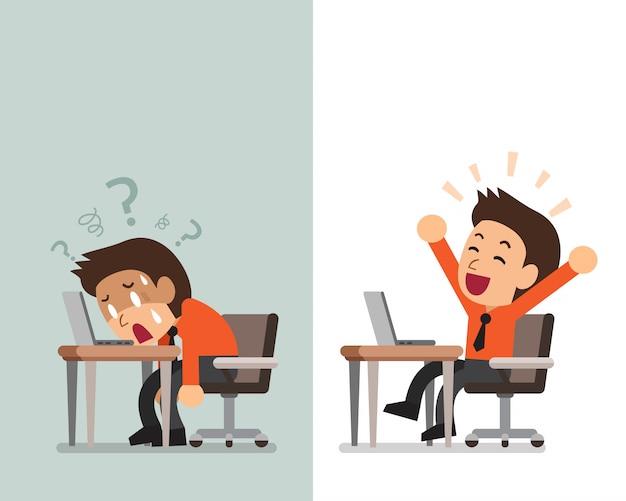 Homme d'affaires de dessin animé exprimant des émotions différentes