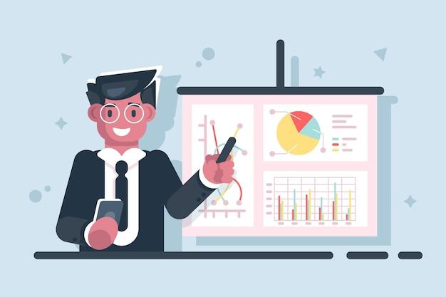 Homme d'affaires de dessin animé avec illustration de graphique de présentation de pointeur bâton