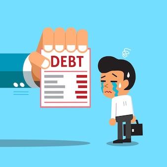 Homme d'affaires de dessin animé et lettre de dette