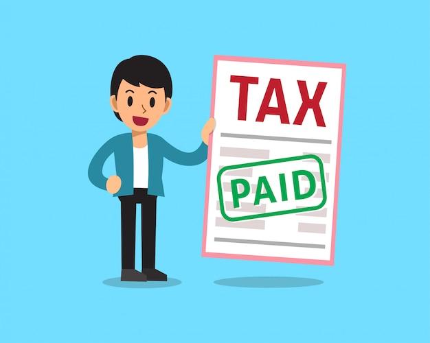 Homme d'affaires de dessin animé payé l'impôt