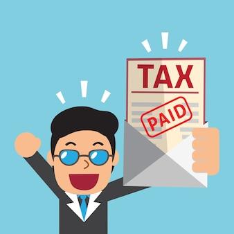 Homme d'affaires de dessin animé a payé l'impôt