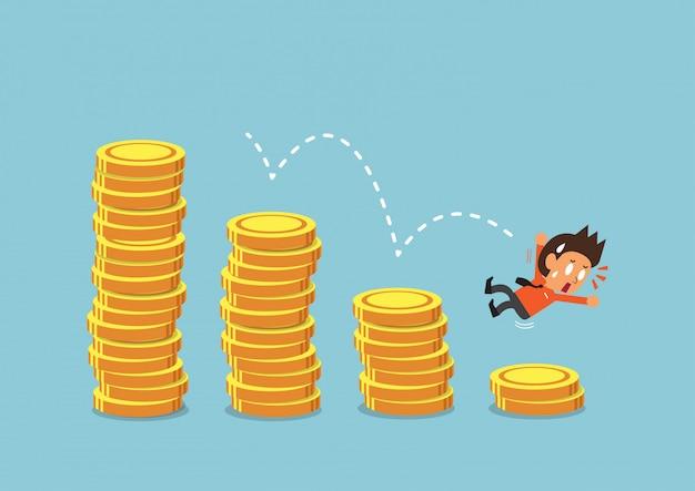 Homme d'affaires de dessin animé avec des piles de pièces d'argent
