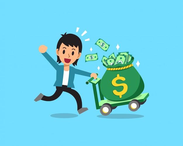 Homme d'affaires de dessin animé poussant le grand sac d'argent
