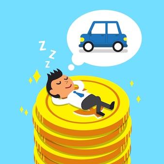 Homme d'affaires de dessin animé s'endormir sur des pièces d'argent et rêver de voiture