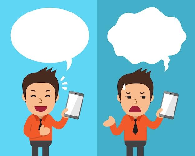 Homme d'affaires de dessin animé avec smartphone exprimant différentes émotions avec des bulles