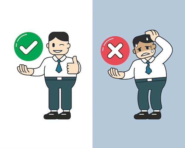 Homme d'affaires de dessin animé de vecteur exprimant différentes émotions